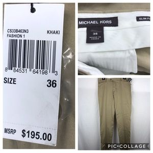 Michael Kors slim fit khaki dress pants UNHEMMED